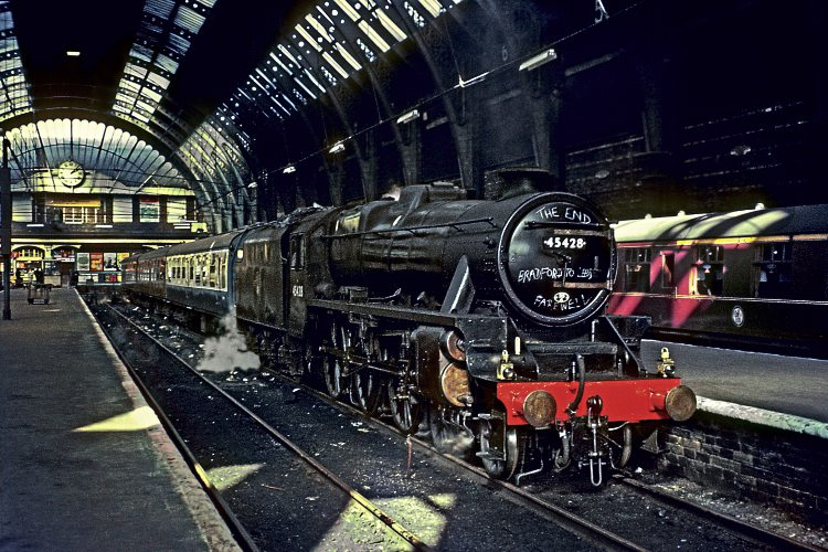 Having earlier been refurbished and repainted for Royal Train duties, immaculate Holbeck-based LMS 'Black Five' No. 45428 (now preserved) stands in the long-closed terminus of Bradford Exchange with the enultimate steam train on the Eastern Region, the 2.20pm to Leeds (conveying through carriages to King's Cross) on October 1, 1967. Credit: DAVE RODGERS