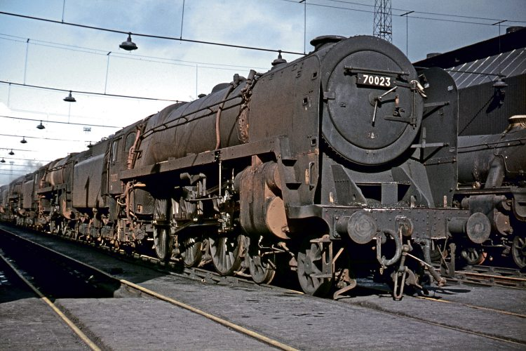 BR Standard Britannia Pacific No. 70023 Venus at Crewe South shed on October 15, 1967. COLOUR-RAIL.COM 380604.
