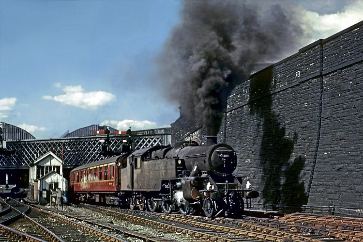 Low Moor Fairburn 4MT 2-6-4Ts No. 42283 blasts out of Bradford Exchange towards Mill Lane 'box with a Leeds service on July 23, 1967. DAVE RODGERS