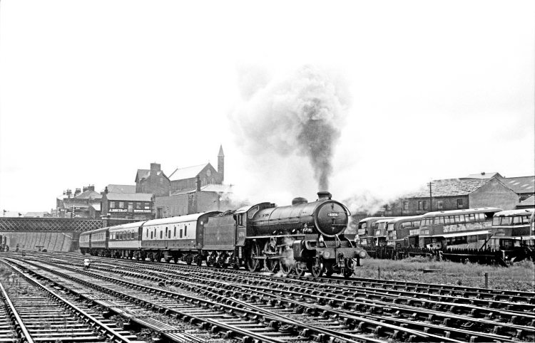 LNER B1 4-6-0 No. 61306 (now preserved) climbs away from Bradford Exchange with the last steam-hauled 9.55am Bradford-Leeds portion of the 'Yorkshire Pullman' on September 30, 1967. JOHN MARSH