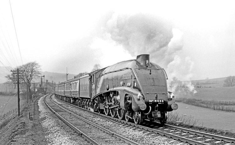 After overhaul at Crewe, LNER A4 Pacific No. 4498 Sir Nigel Gresley climbs Grayrigg bank on April 1, 1967 with its first railtour in preservation. MAURICE BURNS