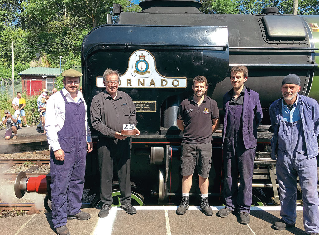 No. 60163 Tornado steam locomotive with members of A1 Steam Locomotive Trust.
