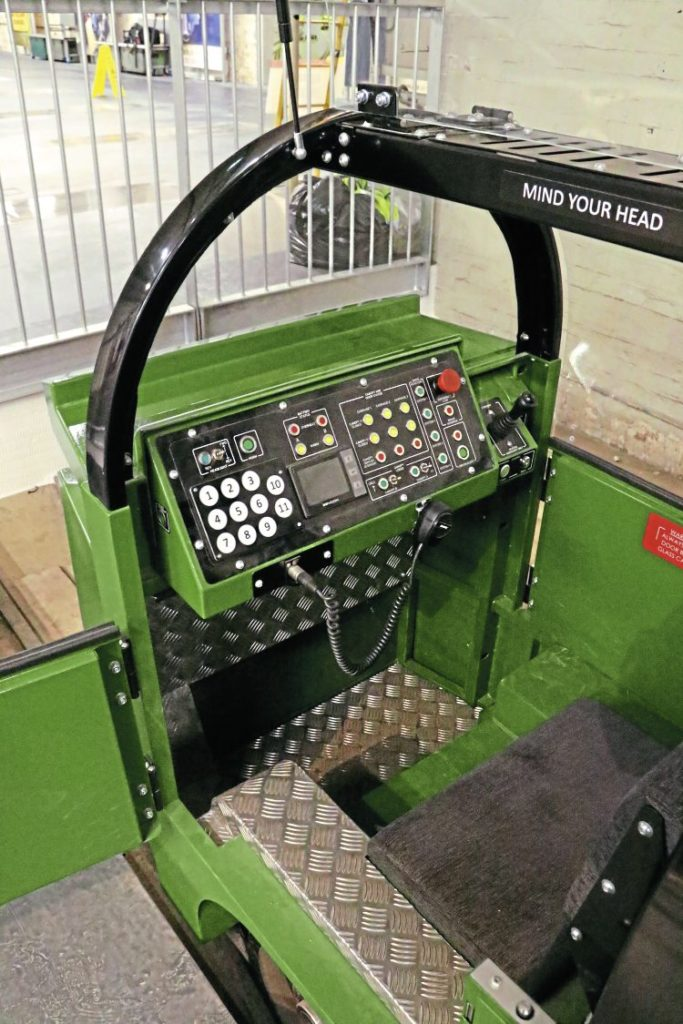 The driving cab of the Severn Lamb train.