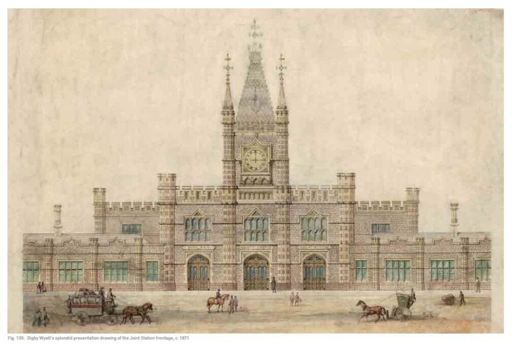 Bristol Temple Meads drawing of the station by Digby Wyatt.