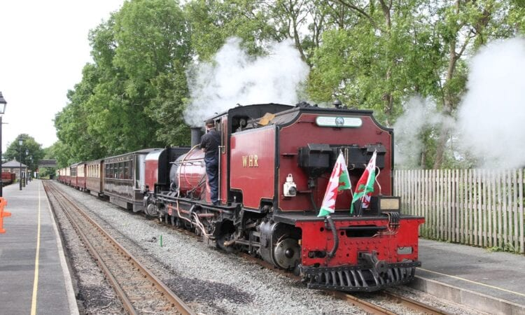 Pic caption: Welsh Highland NGG16 'Garratt' No. 138 at Dinas station on June 14, 2019 about to depart for Caernarfon.