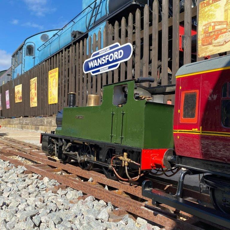 The 5 inch gauge new Wansford Miniature Railway runs from the play area to the locomotive workshop. It complements the full-size standard gauge Nene Valley Railway – Swedish B Class No. 101 can be seen in the background.